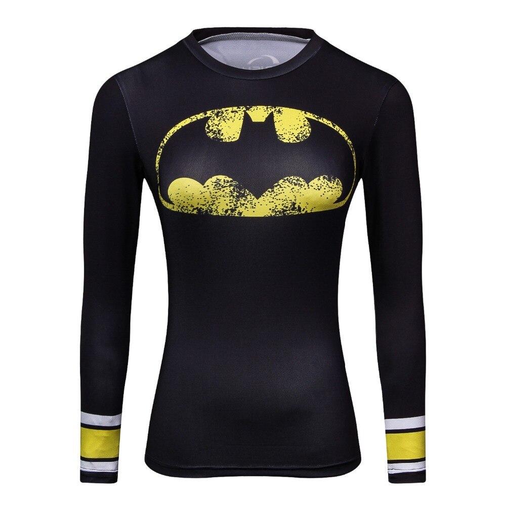 8768fff3eb Camisa de compressão Spiderman 3D Impresso T Shirt Mulheres Raglan Manga  Comprida Capitão América Cosplay Quick