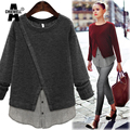 ACHIWELL Winter Casual Women Sweater Cross Patchowork Shirts Long Sleeve O Neck Grey Red Women Knitted Pullovers Plus Size 5XL