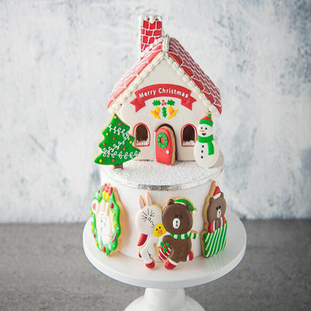 Us 2 64 24 Off 8pcs Christmas House Tree Cake Royal Icing Cookies Plastic Fondant Cake Mold Diy For Child Children New In Cookie Tools From Home