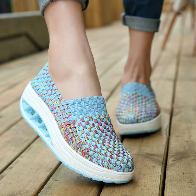Sneakers Women Shoes 2019 Fashion Breathable Woven Solid Slip-on Shoes Women Sneakers Wedges Running Shoes Woman