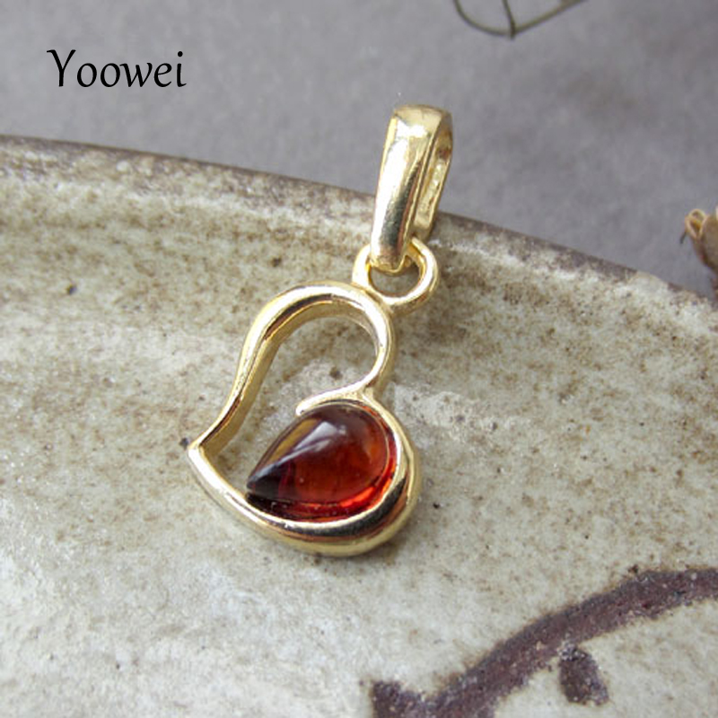 Yoowei Cherry/honey Baltic Amber Pendants Heart Gold Color Tiny Chic Amber Jewelry Hollow Drop Gemstone Women Girl Amber Pendant Drip-Dry