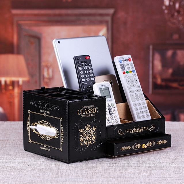 Lactophrys Dermoprotector Remote Control Cosmetics Storage Box Desktop  Multifunctional Pu Leather Tissue Box Fashion