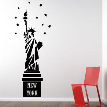STATUE OF LIBERTY New York NYC USA stickers bedroom skyline Wall Art Stickers free shipping