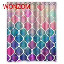 WONZOM New Polyester Fabric Shower Curtains with 12 Hooks For Bathroom Decor Modern 3D Bath Waterproof Curtain Gift