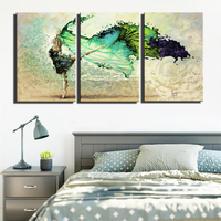 3 Panels Abstract Girl Canvas Paintings Large Size Modern Dancer Modular Pictures Pop Art Wall Posters For Living Room Decor
