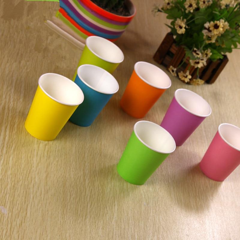 컬러 종이 컵 50pcs / 팩 파티 종이 컵 일회용 웨딩 - 휴일 파티 용품 - 사진 3