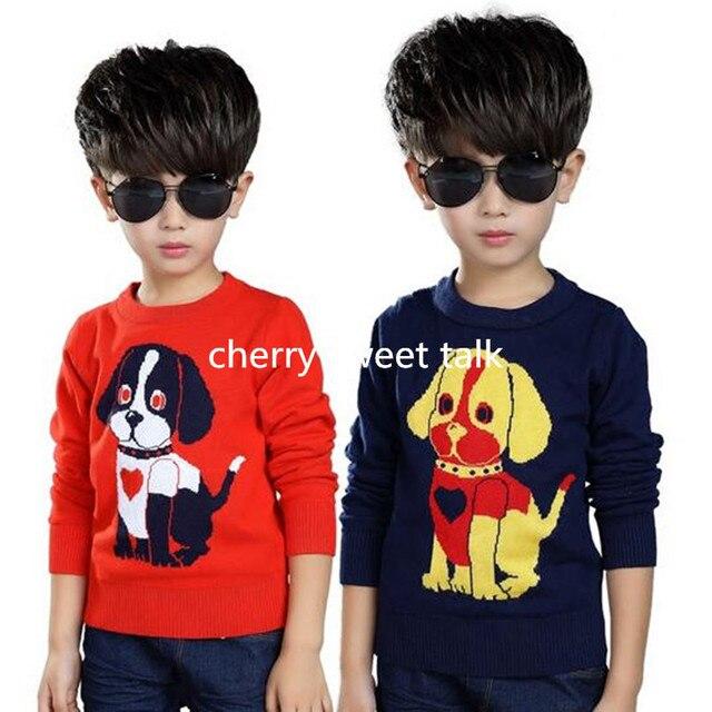 Горячие продажи собака свитера дети хеджирования качество мальчик и девочка свитер вязаный детский свитер, мальчика свитер