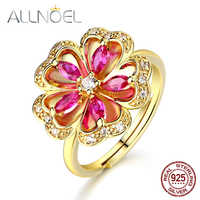 ALLNOEL Genuine 925 Sterling Silver Rings For Women 14K Gold Plated Natural Red Corundum Marquise Floral Ring Valentine's Day