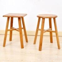 Doğal Katı Bambu Ahşap Yuvarlak/Kare Dışkı Yemek Sandalye cadeira Çivi Olmadan Kırsal Tarzı Basit Tasarım