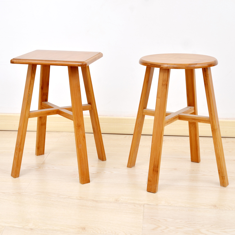 цена Natural Solid Bamboo Wooden Round/ Square Stool Dinning Chair Without Nails Countryside Style Simple Design cadeira