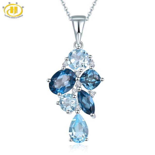 Hutang London Blue Topaz Pendant Natural Gemstone Solid 925 Sterling Silver Necklace Fine Fashion Stone Jewelry Gift Accessories