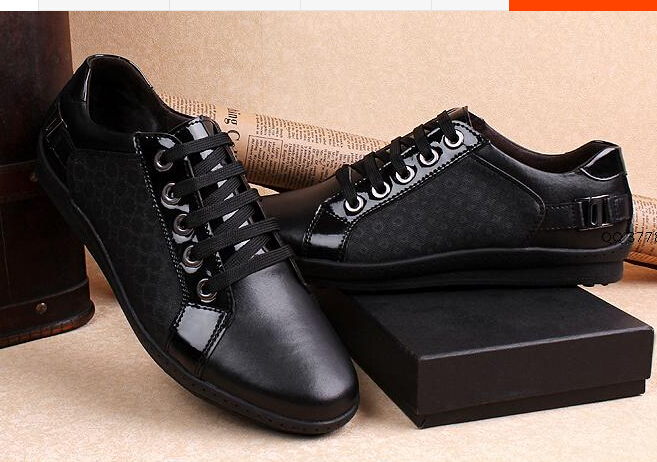 Luxury shoes mens fashion sneakers black lace up leather