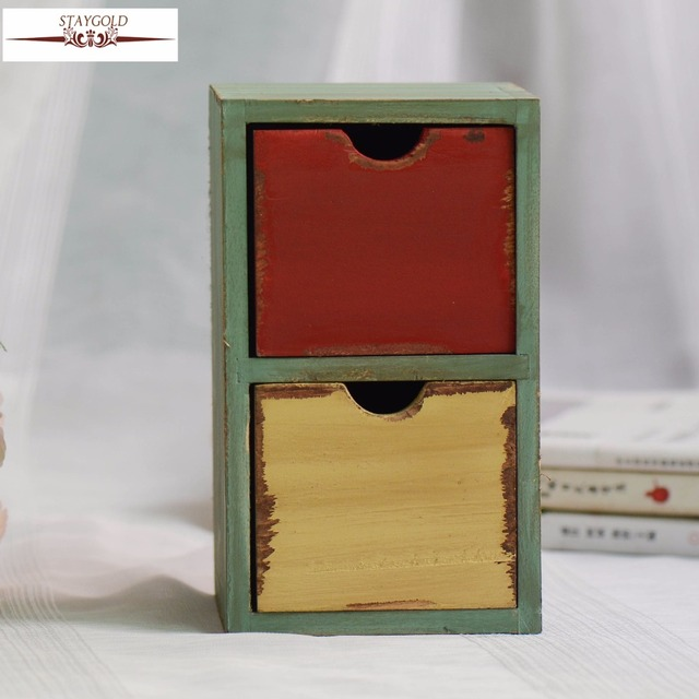 Z Wooden Box Vintage Home Decor Storage Drawer Organizer Desktop Wood 11 7