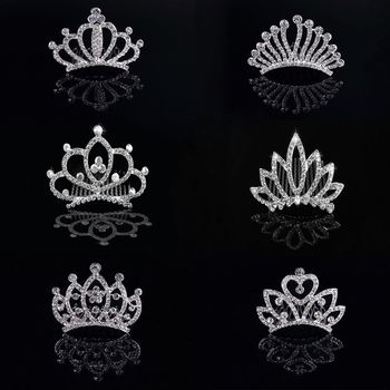 Fashion Wedding Jewelry Children Gift Crystal Crown Hairpin Hairclip Barrette Hair Comb Hair Crown Hair Clasp Wedding Jewelry