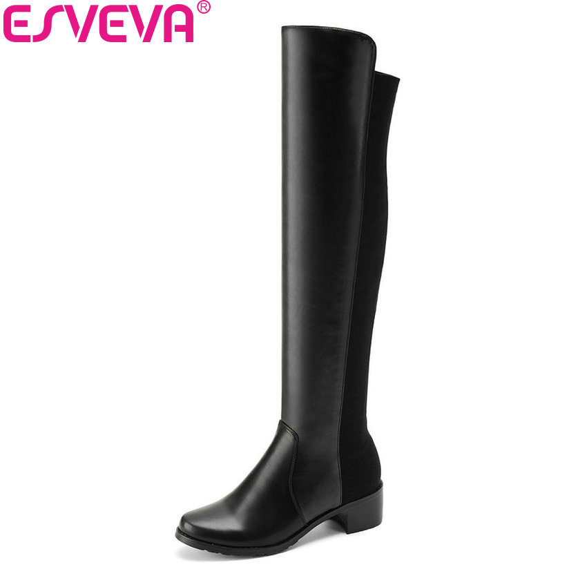 ESVEVA 2019 Women Boots Flock+PU Square Med Heels Round Toe Over The Knee Boots Slip on Spring Autumn Ladies Boots Size 34-43