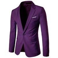 La MaxPa 2017 New Arrival Fashion Blazer Mens Casual Jacket Solid Color Cotton Men Blazer