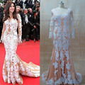 White Appliques on Nude Tulle Long Sleeve Celebrity Evening Dresses Inspired by Najwa Karam Cannes Real Image