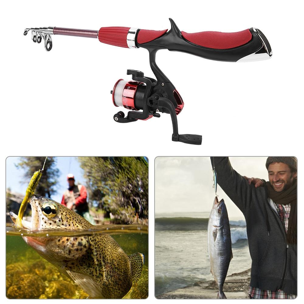 Rod Hook Pole-Gear-Set Reel Fishing-Rod-Combo Telescopic Ice-Fishing-Spinning-Reel Full-Kit
