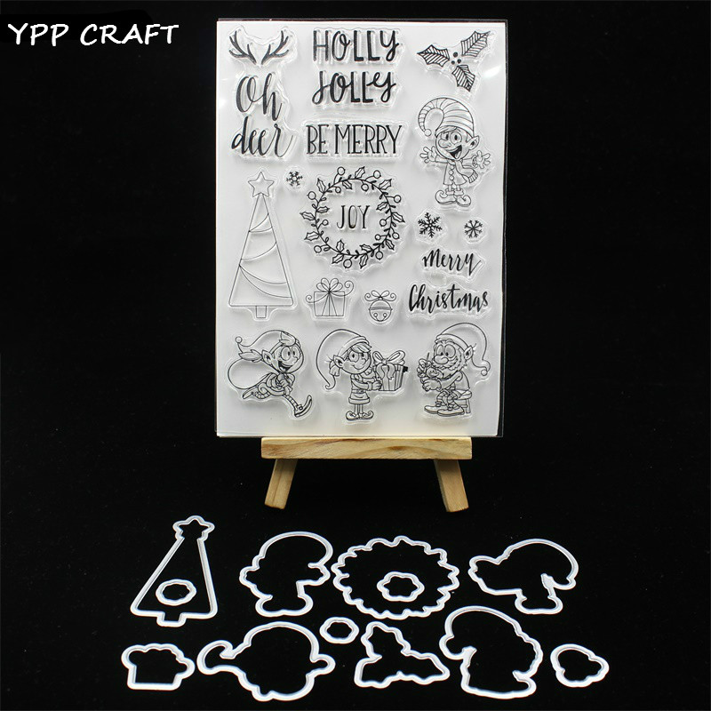 YPP CRAFT Be Merry Transparent Stamp And Cutting Dies for DIY Scrapbooking/Card Making/Kids Fun Decoration Supplies цена и фото