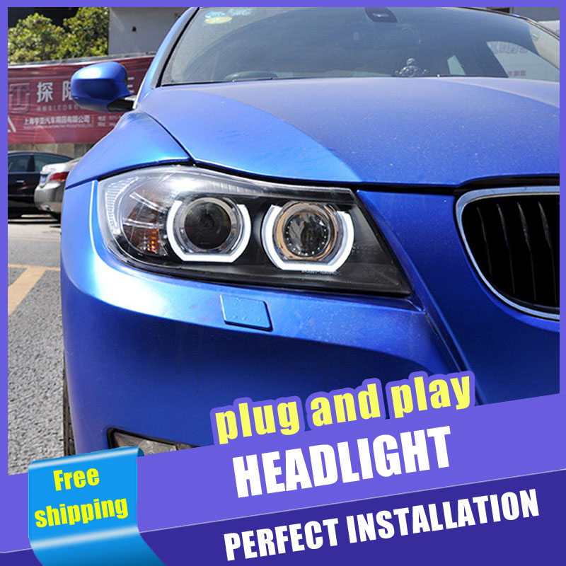 2PCS Car Style <font><b>LED</b></font> <font><b>headlights</b></font> for <font><b>BMW</b></font> <font><b>E90</b></font> 2005-2015 for <font><b>E90</b></font> head lamp <font><b>LED</b></font> DRL Lens Double Beam H7 HID Xenon bi xenon lens image