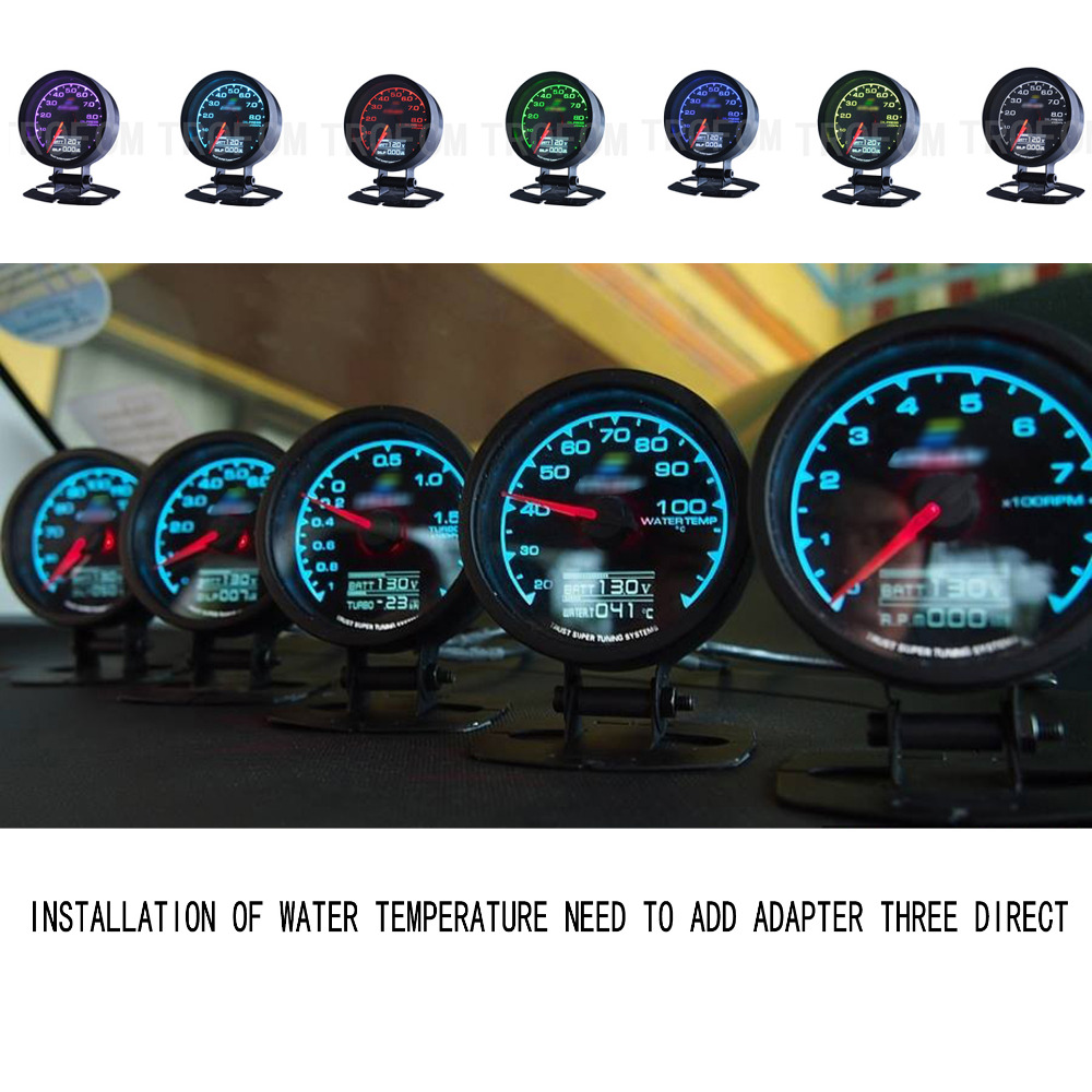 Universal automatic Racing Gauge Water Temperature Gauge With Voltage Meter GReddi 7 LED Light LCD Sensor 62mm Water TEMP Gauge
