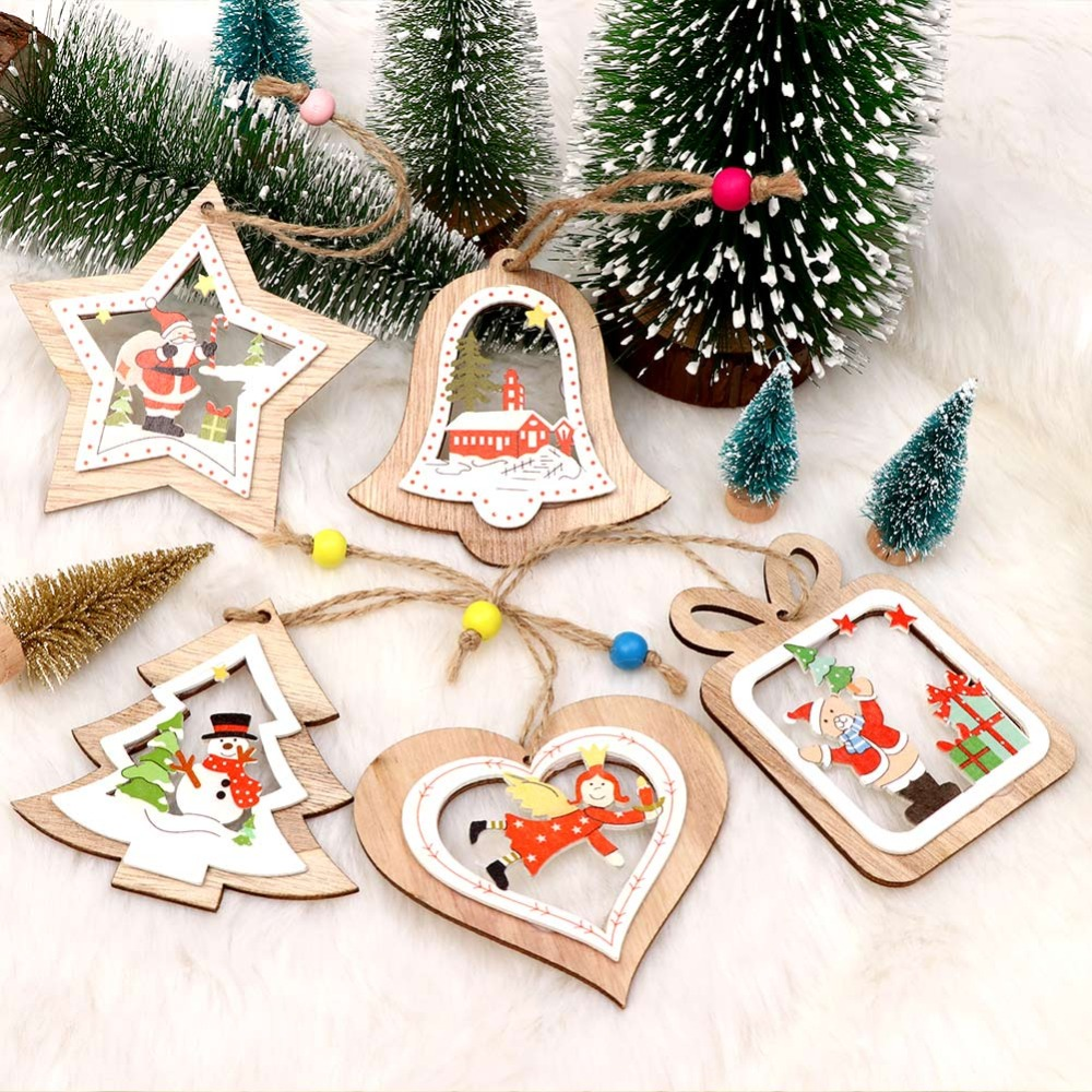 OurWarm New Year 2019 Wooden Christmas Ornaments 5 Style ...