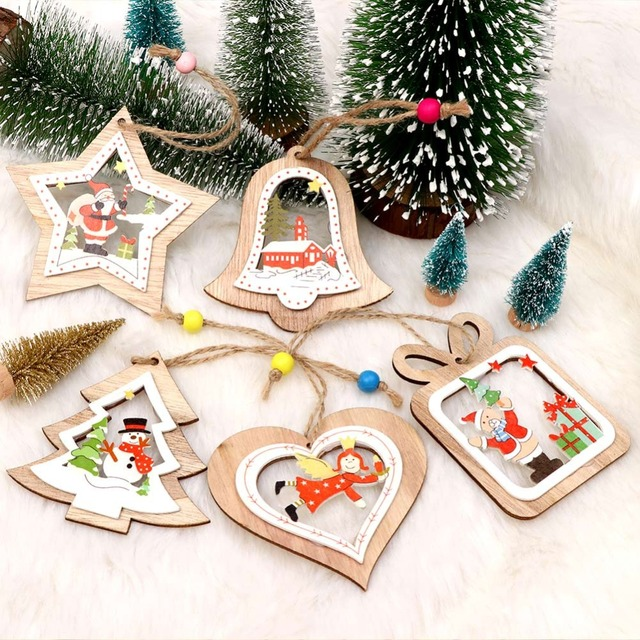 ourwarm new year 2019 wooden christmas ornaments 5 style rustic christmas tree decoration pendant christmas gifts