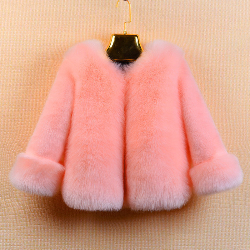 2017 Winter Autumn Children Clothing Baby Kid Girl Faux Fur Kids Coat Outwear Thicken Girl Long sleeve Fur Coat Jacket for 2-10T warm thicken baby rompers long sleeve organic cotton autumn