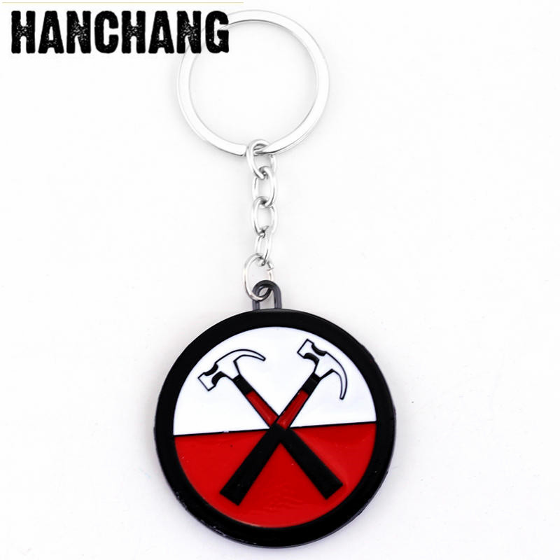 Rock Band Pink Floyd Keychain Music Jewelry Hammer Two Axes Intersect Chemical Symbol Car Key Chain Hip Hop Band Souvenirs