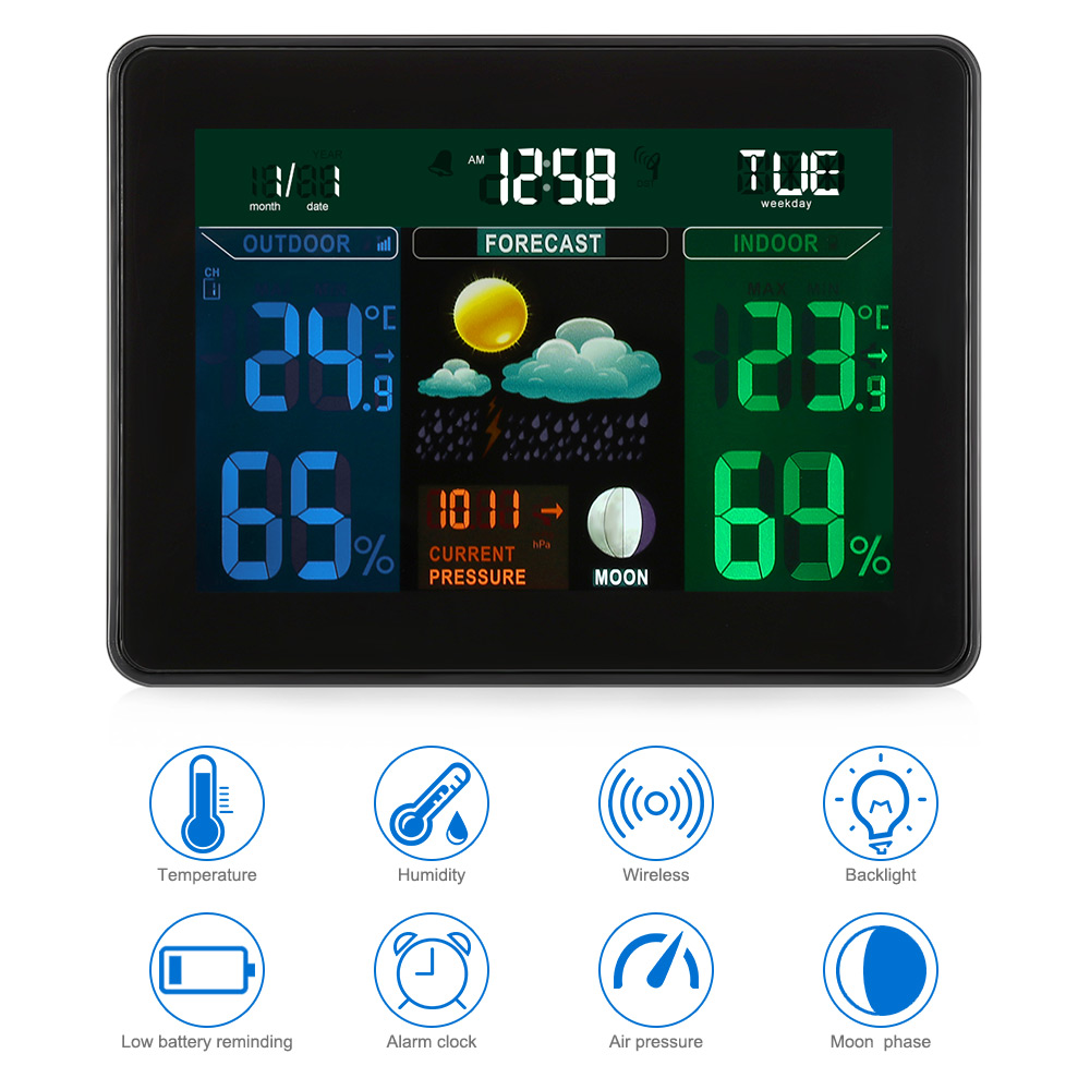 Digital Weather Station Thermometer Hygrometer Indoor/Outdoor Digital Temperature Monitor With 2 Wireless Sensor EU/ US Plugs digital indoor air quality carbon dioxide meter temperature rh humidity twa stel display 99 points made in taiwan co2 monitor