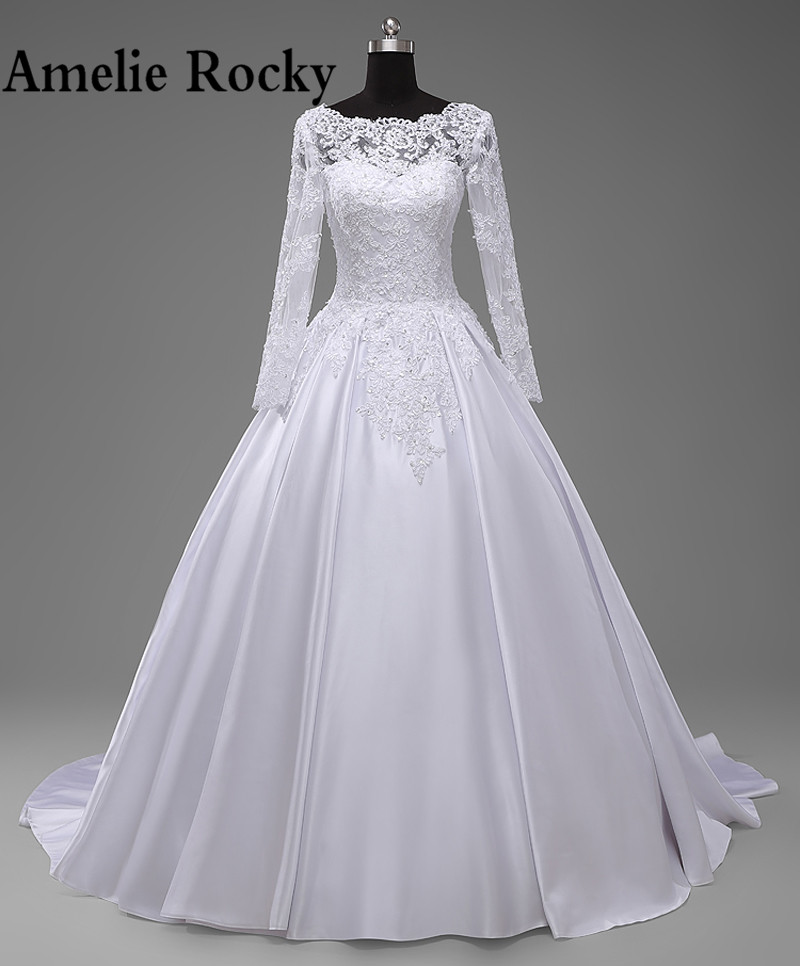 Robe De Mariage Real China Long Sleeve Wedding Dresses 2019 Casamento Lace Up Satin Wedding Gowns