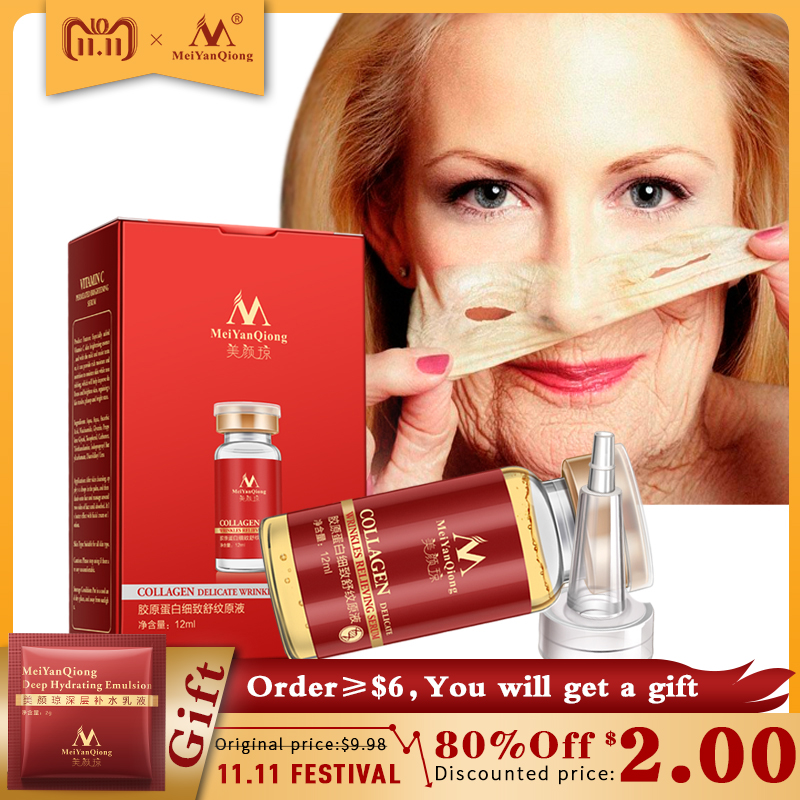 цены Collagen Argireline+aloe vera+collagen rejuvenation anti wrinkle Serum for the face skin care products anti-aging cream 12ML