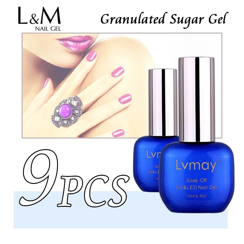 9 Pcs Free Shipping Lvmay Brand Granulated Sugar Gel Supplies Wholesale Products Nail Polish More Than 30 Days Long-lasting