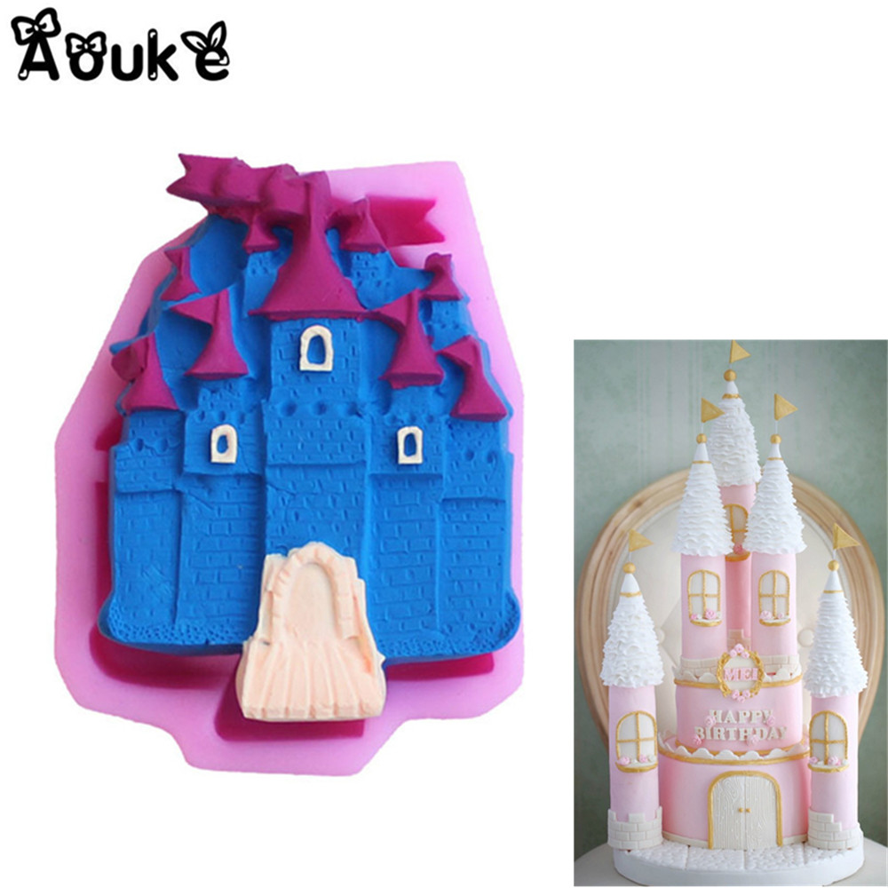 3d castle shape embossed cake silicone mold cookie diy kitchen