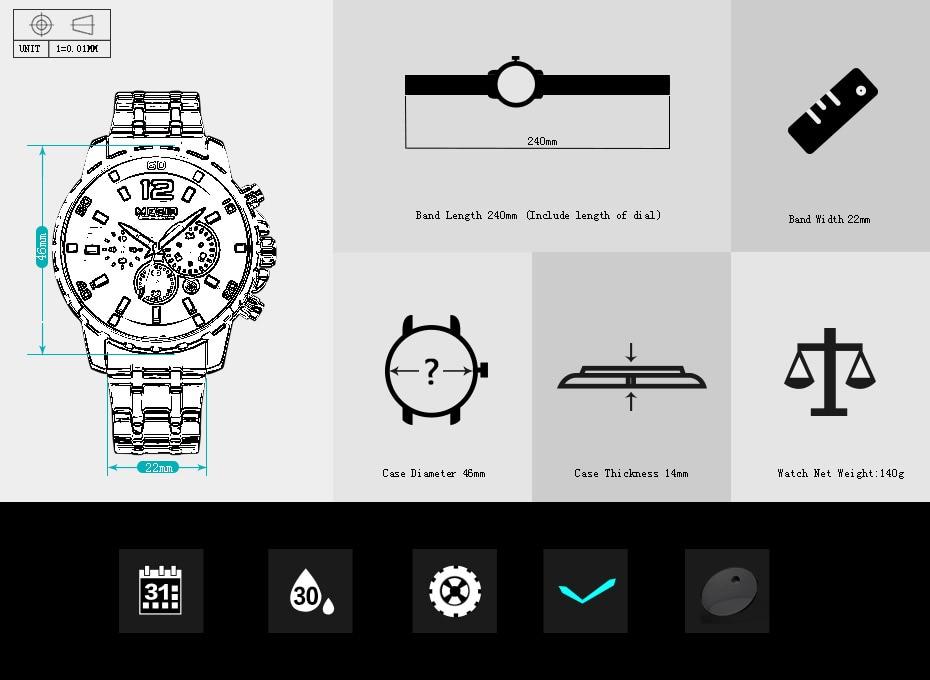 HTB1wX LdpuWBuNjSszbq6AS7FXaN Megir Men's Gold Stainless Steel Quartz Watches Business Chronograph Analgue Wristwatch for Man Waterproof Luminous 2068GGD-2N3