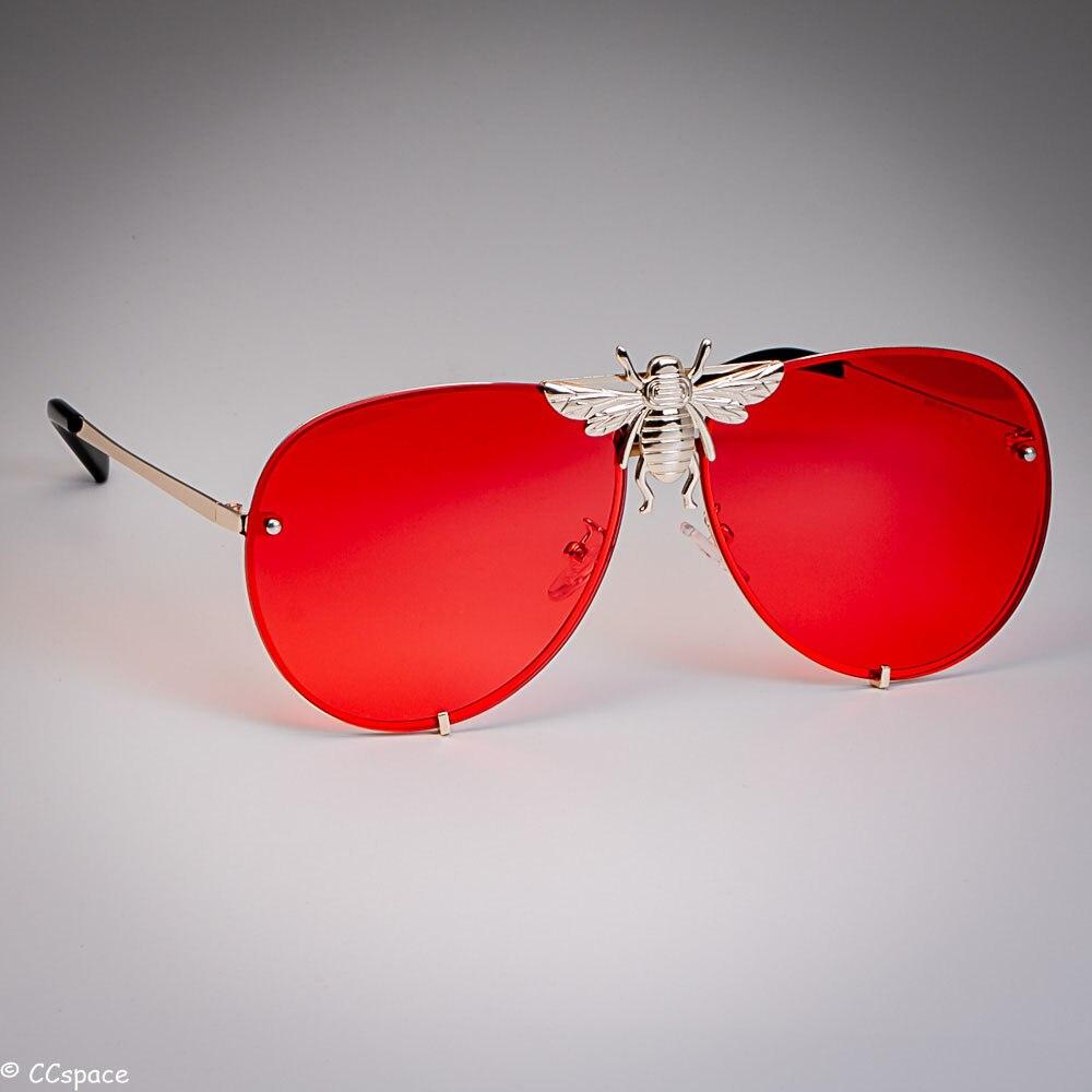 New Designer Style Gold Bee Oversized  Square UV Summer Holiday Sunglasses