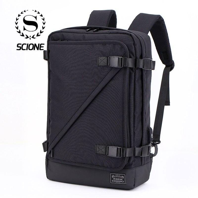 Scione Men Multi function Solid Travel Backpacks Fashion Waterproof USB Charging Laptop Portable Bags Leisure Shoulder