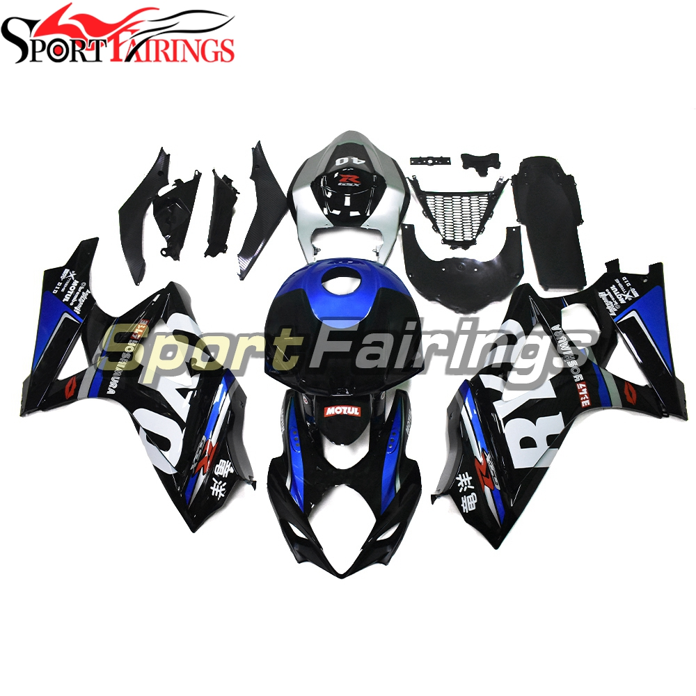 Advanced Quality Hulls for <font><b>Suzuki</b></font> <font><b>GSXR1000</b></font> <font><b>K7</b></font> 2007 2008 ABS Plastic Injection Carenes Autocycle Outer Covering Black Blue Silver image