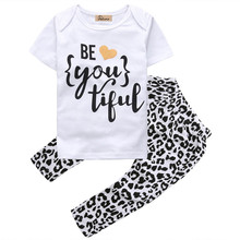 2016 New Girls Clothing Sets Baby Kids Clothes Suit Children Short Sleeve T-Shirt +Pants roupas infantil meninas