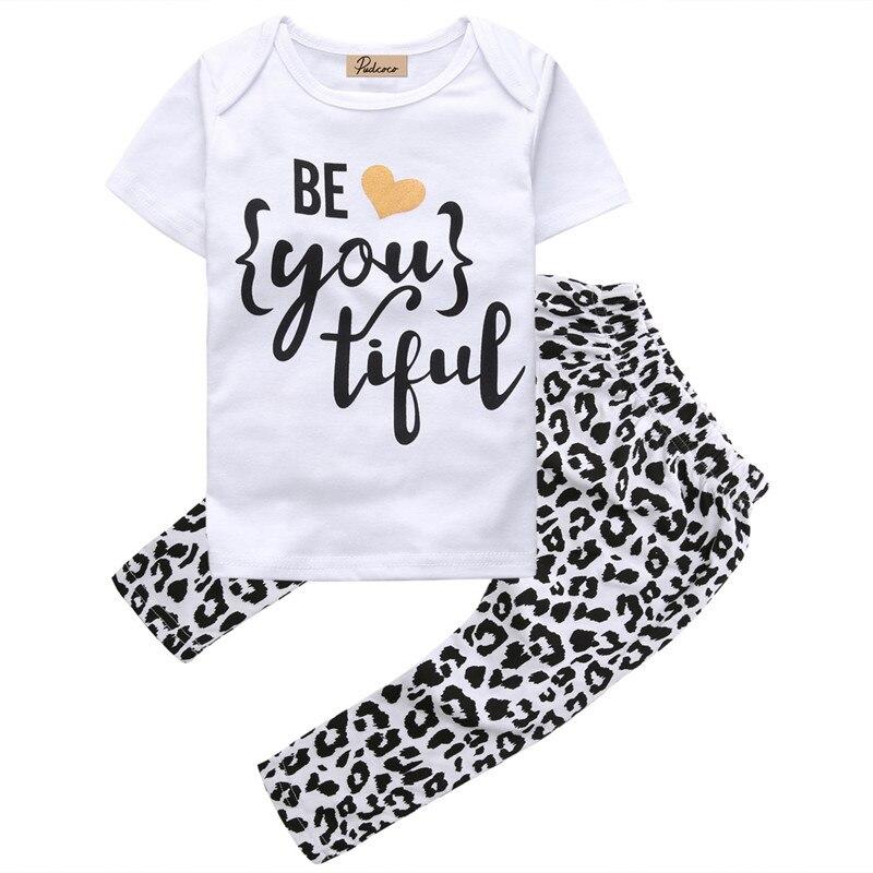 Pudcoco 2019 Novos Conjuntos de Roupas Meninas Do Bebê Crianças Roupas Crianças Terno T-Shirt + Calças de Manga Curta roupas infantil meninas
