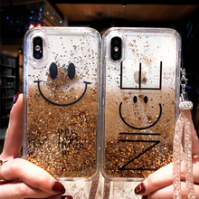Cute Quicksand Smiley Face English Alphabet Phone Cover Case For Iphone X Xs Max Xr 10 8 7 6 6s Plus Soft Silicone Coque Fundas