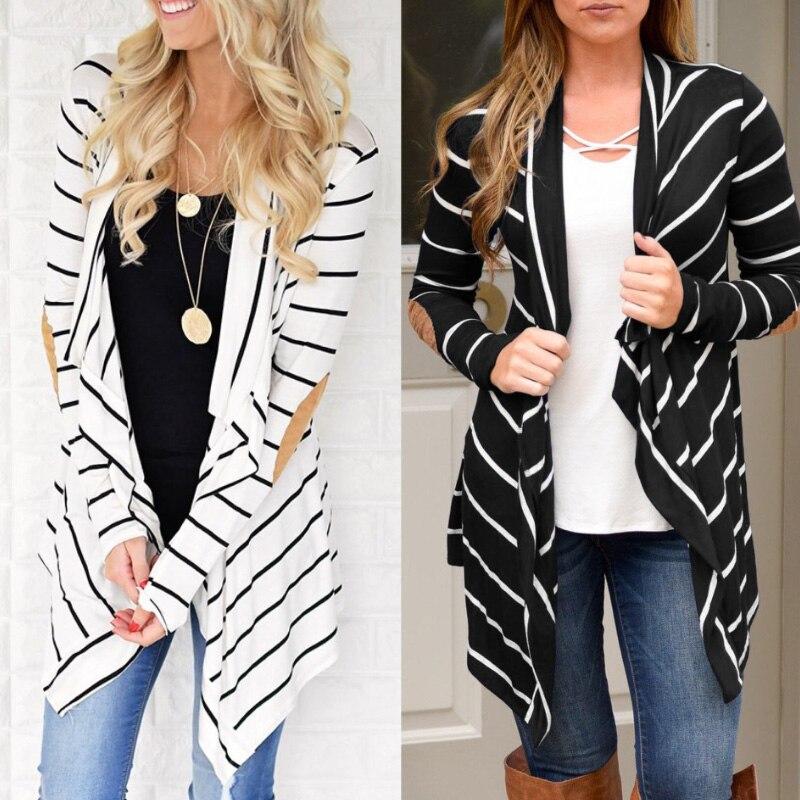 Open Stitch Slim Long Jacket Women Fashion Turn-Down Collar Coat Thin Autumn Winter Outerwear Striped Office Lady Casual Jackets