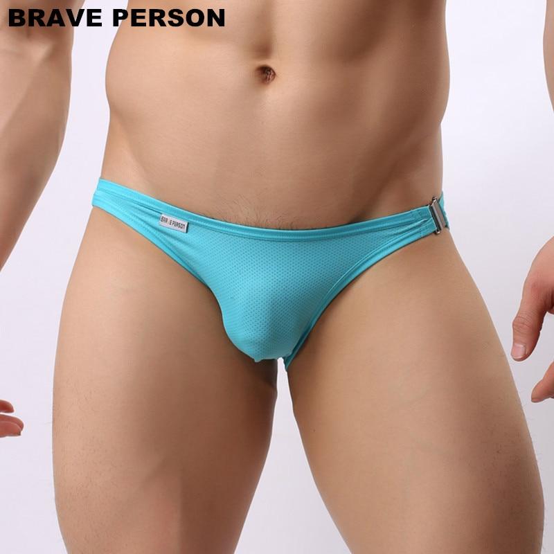 Brave Person Brand New Men's Briefs Sexy Fashion Underwear  Bikini Side Metal Buckle Underwear Men Briefs High Quality B1146