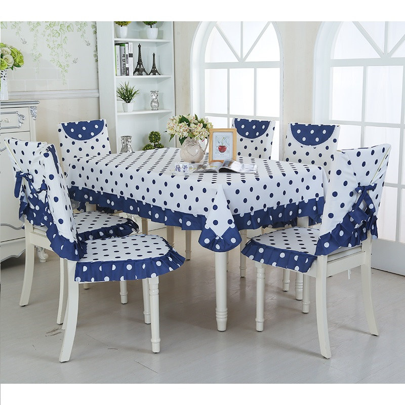 Dining Room Table Covers: Dark Blue Dot Table Cover For Dining Room Hotel Rectangle