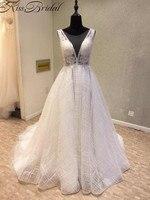 Newest Backless Wedding Dresses Illusion V Neck Sleeveless Bridal Gown Vestido De Noiva 2018