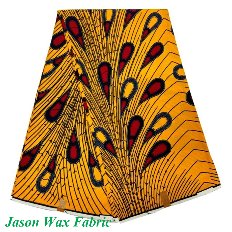 Free Shipping! Dutch Wax Super Wax Hollandais African cotton fabric for sewing Nigerian wrapper yellow/red dot pattern LBL