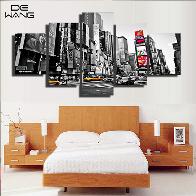5 pieces canvas wall art print new york lego city painting frame black and white pictures