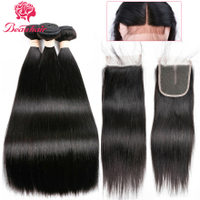 Beau Human Hair Bundles Med Closure Lace Frontal Malaysia Straight Hair 2/3 Bundler Med Frontal Closure 4x4 Non Remy Hair