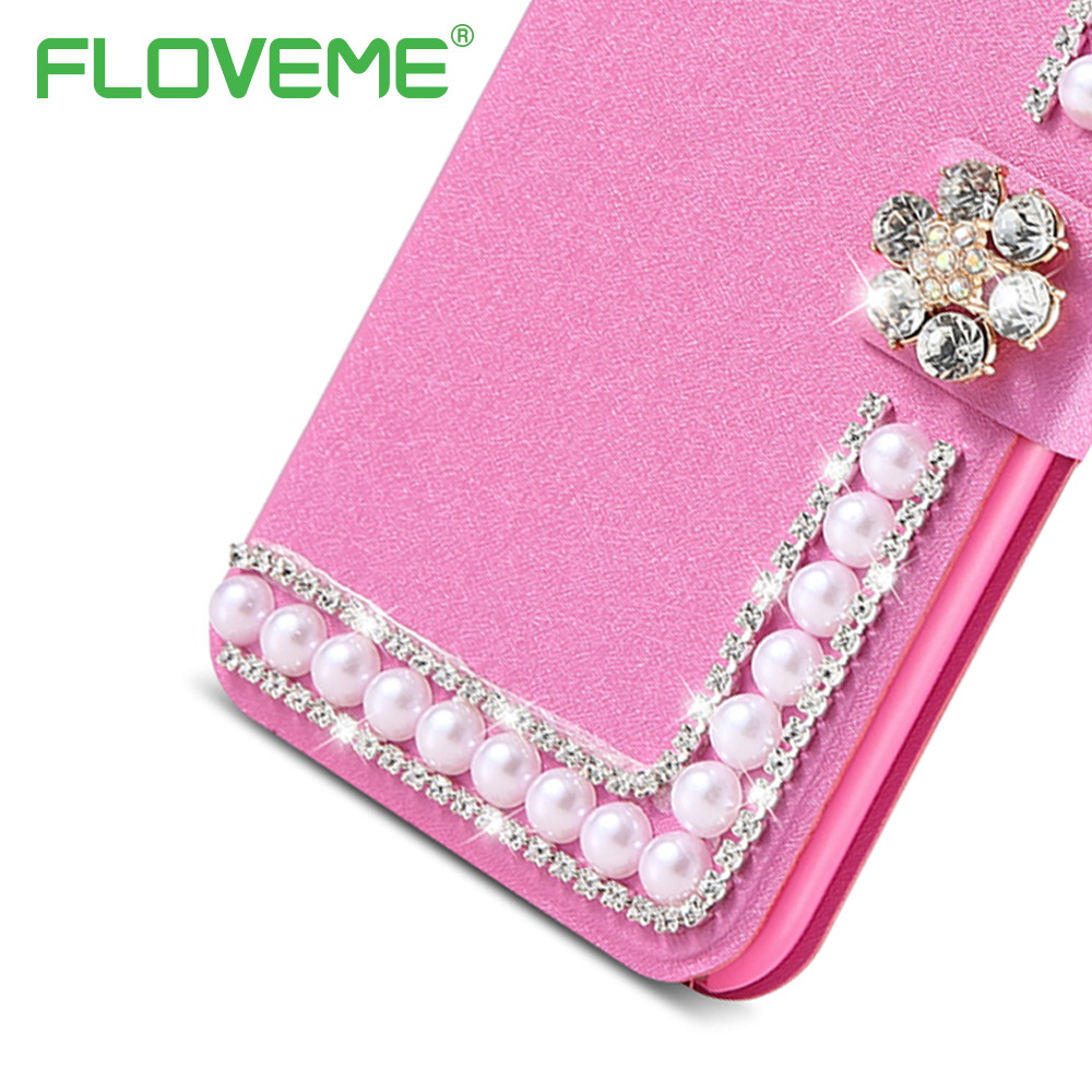 FLOVEME Luxury Bling Case For iPhone 7 Plus i 6 6S Phone Case Cute Women Flip Leather Wallet For iPhone 5 S E Case with Holder