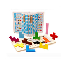 Clever Board Toy Wooden Puzzle Brain Teaser Puzzle Toys Tetris Game Preschool Magination Intellectual Educational Kid